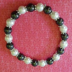 Magnetic hematite and bead bracelet